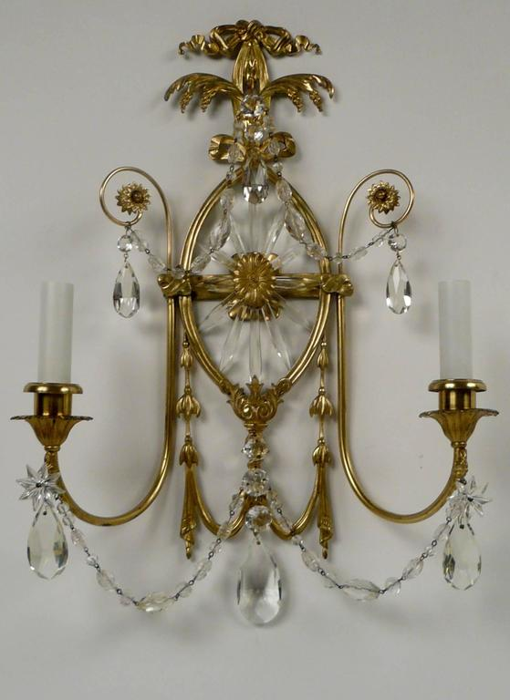 Pair of E. F. Caldwell Cut Crystal and Brass Two-Light Sconces For Sale 3