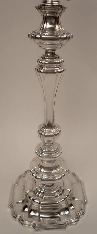 Georgian Style Silver Plated Bronze Table Lamp For Sale At