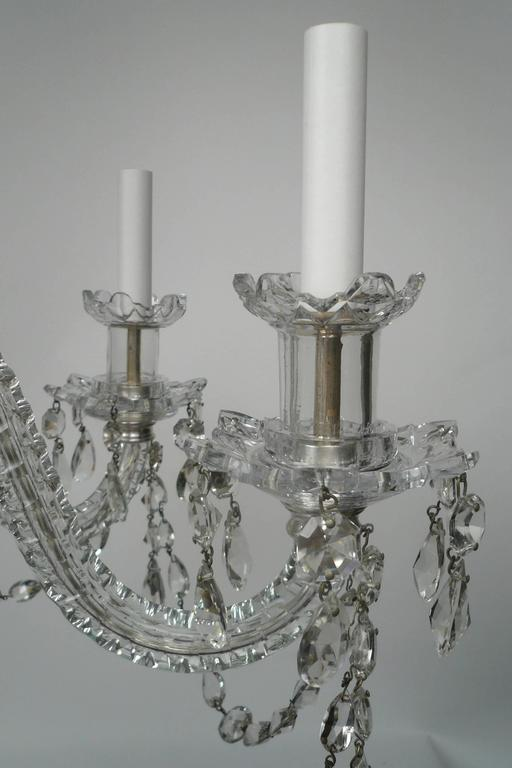 Georgian Style Cut Crystal Six Light Chandelier by E F Caldwell