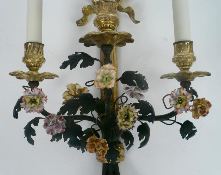 French Pair of Louis XVI Style Gilt Bronze and Porcelain Flower Two-Light Sconces For Sale
