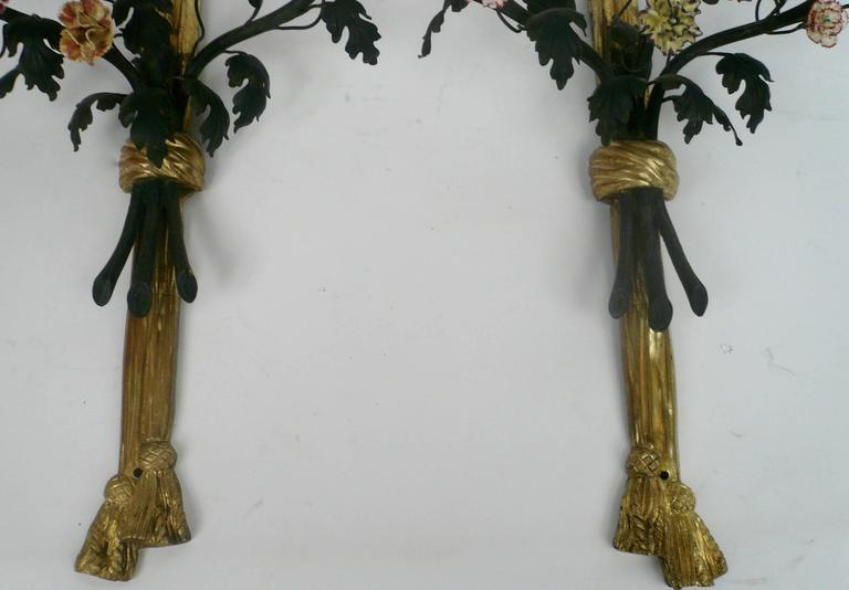 Pair of Louis XVI Style Gilt Bronze and Porcelain Flower Two-Light Sconces For Sale 3