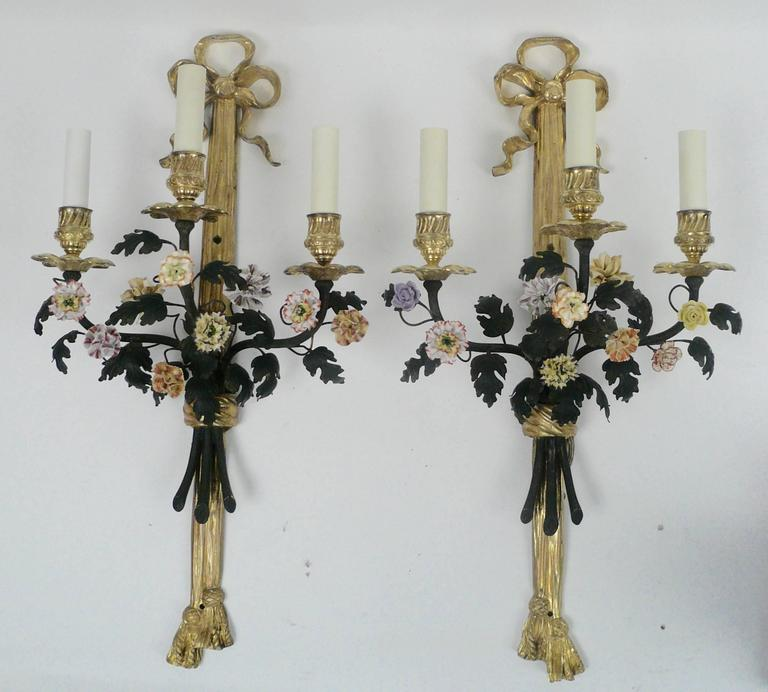 Neoclassical Pair of Louis XVI Style Gilt Bronze and Porcelain Flower Two-Light Sconces For Sale