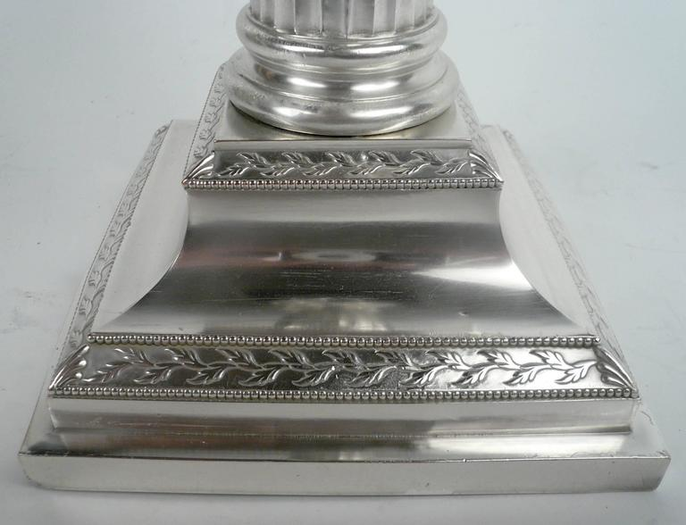 Pair of E. F. Caldwell Silver Plated Columnar Lamps In Excellent Condition For Sale In Pittsburgh, PA