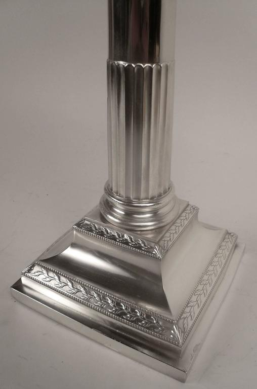 Pair of E. F. Caldwell Silver Plated Columnar Lamps For Sale 2