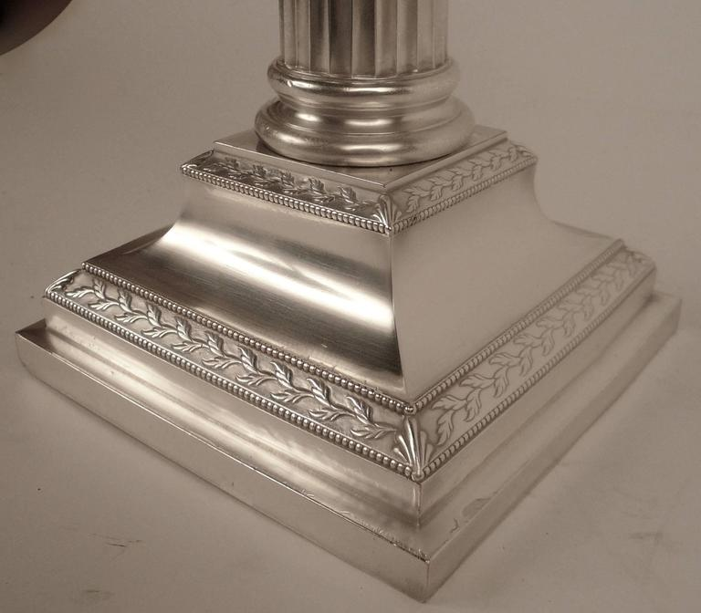 Pair of E. F. Caldwell Silver Plated Columnar Lamps For Sale 3