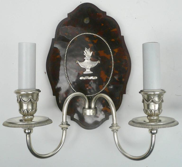 George III Pair of Edward F. Caldwell Silver and Tortoise Shell Two-Light Sconces For Sale