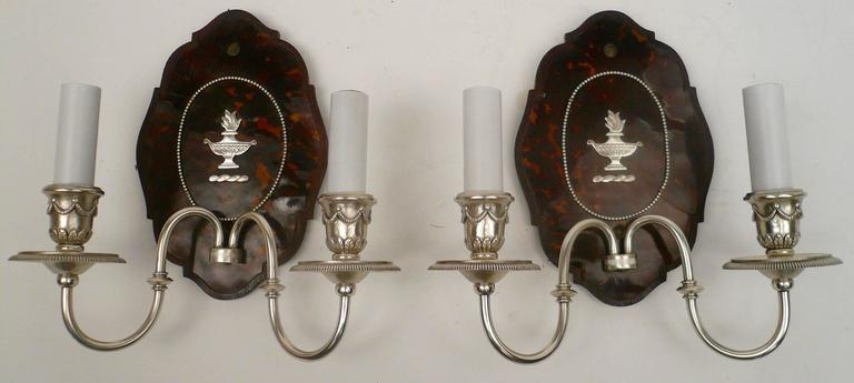 American Pair of Edward F. Caldwell Silver and Tortoise Shell Two-Light Sconces For Sale