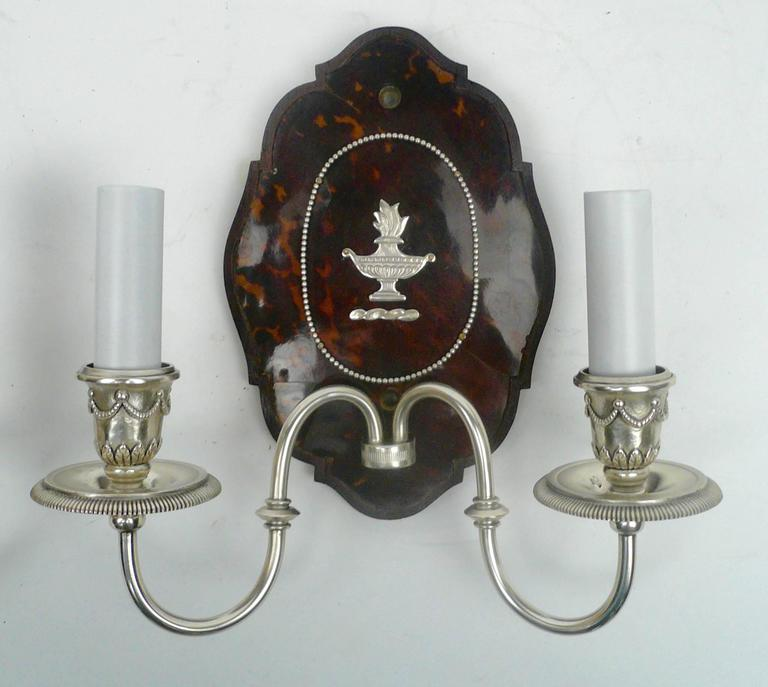 Bronze Pair of Edward F. Caldwell Silver and Tortoise Shell Two-Light Sconces For Sale