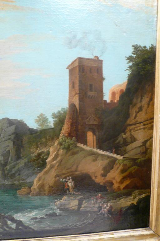 Hand-Painted Harbor View, Attributed to Claude J. Vernet, Oil on Canvas For Sale