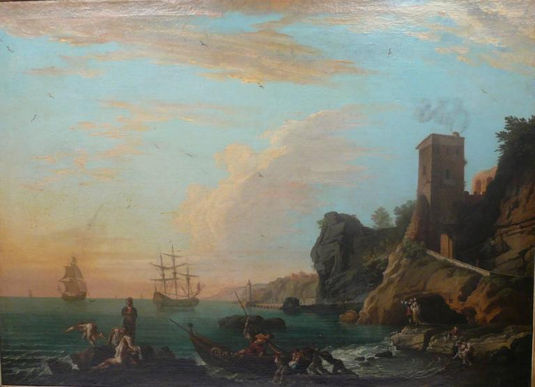 Neoclassical Harbor View, Attributed to Claude J. Vernet, Oil on Canvas For Sale