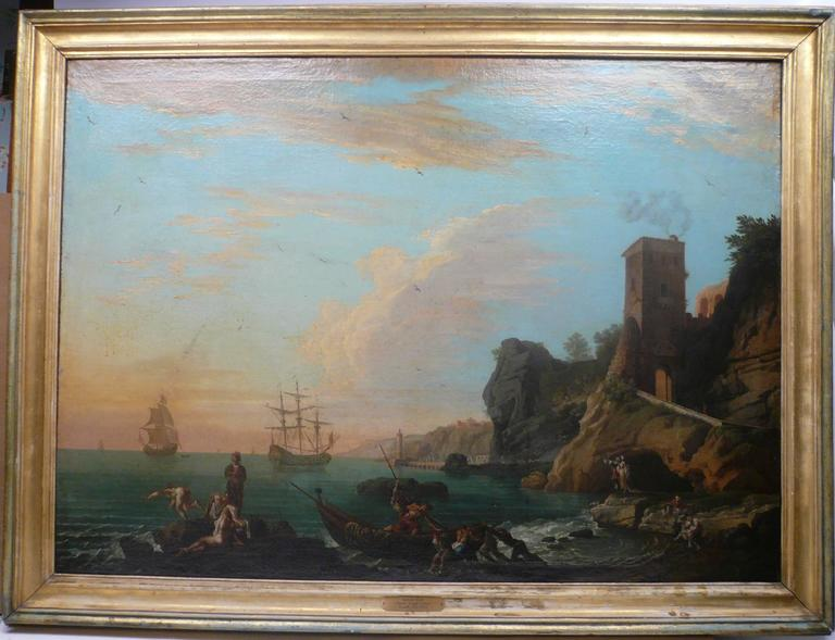 18th Century Harbor View, Attributed to Claude J. Vernet, Oil on Canvas For Sale