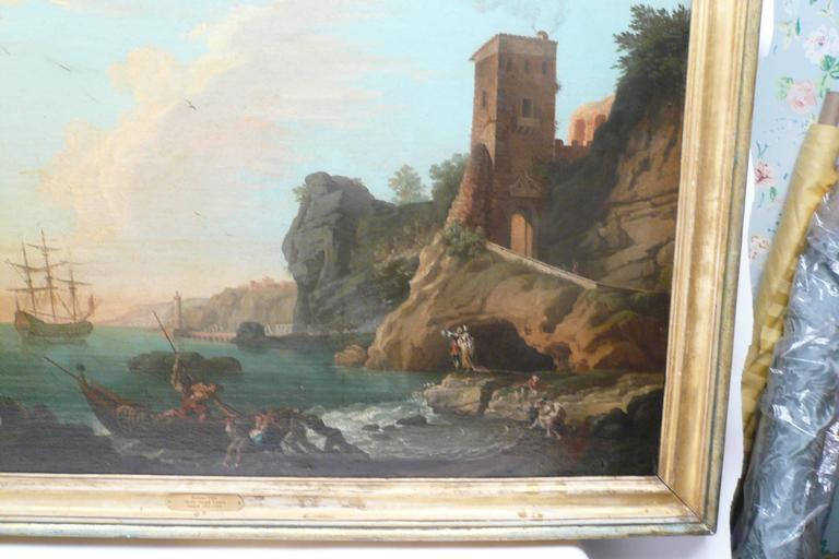 Harbor View, Attributed to Claude J. Vernet, Oil on Canvas For Sale 3