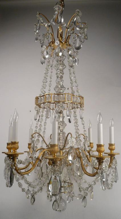 Faceted Louis XVI Style Gil Bronze and Crystal Chandelier For Sale