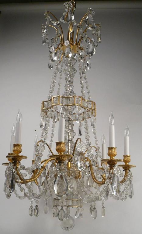 19th Century Louis XVI Style Gil Bronze and Crystal Chandelier For Sale