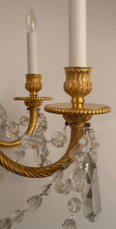 Louis XVI Style Gil Bronze and Crystal Chandelier In Excellent Condition For Sale In Pittsburgh, PA