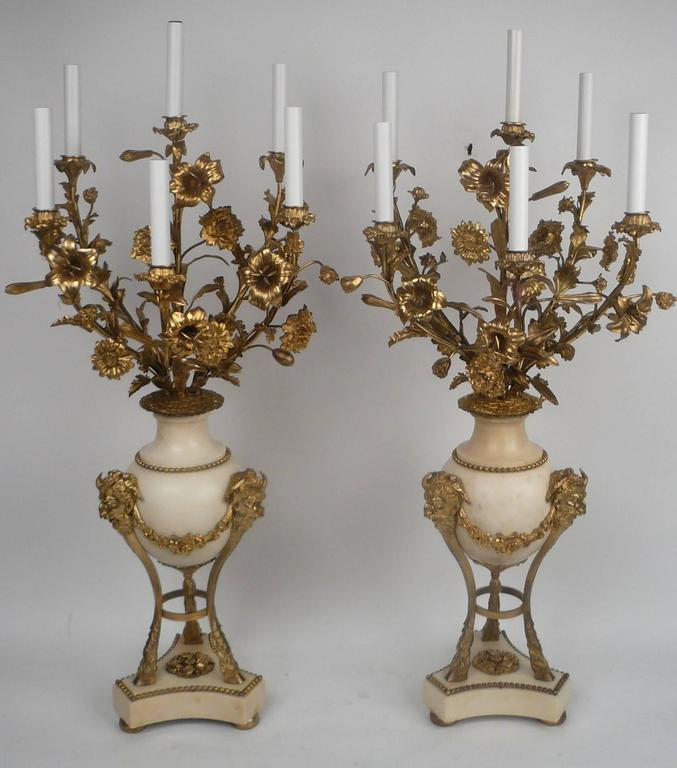 French Large Pair of Louis XVI Style Gilt Bronze and Marble Candelabra For Sale