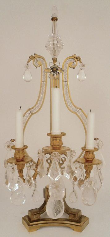 French Pair of 19th Century, Louis XVI Style Gilt Bronze and Rock Crystal Candelabra For Sale
