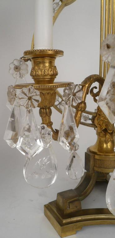 Pair of 19th Century, Louis XVI Style Gilt Bronze and Rock Crystal Candelabra For Sale 5