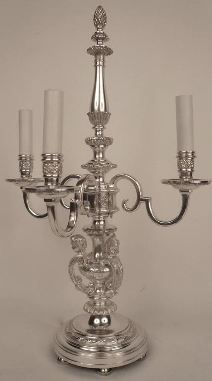 Régence Pair of E. F. Caldwell Silvered Bronze Candelabra Form Lamps  For Sale