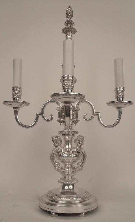 Pair of E. F. Caldwell Silvered Bronze Candelabra Form Lamps  In Excellent Condition For Sale In Pittsburgh, PA