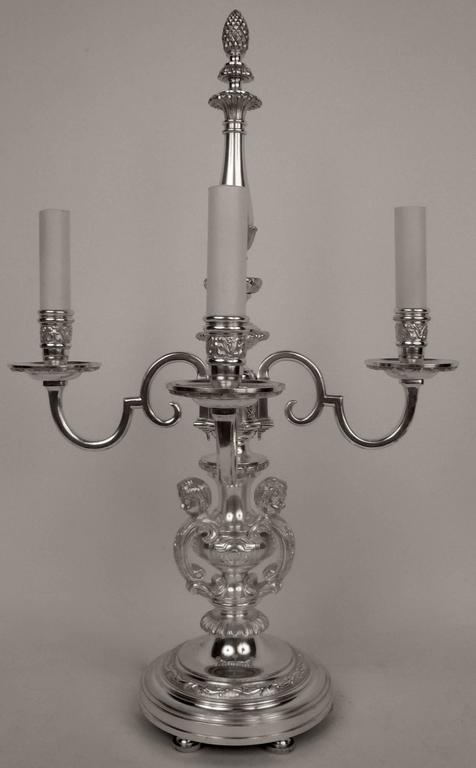 20th Century Pair of E. F. Caldwell Silvered Bronze Candelabra Form Lamps  For Sale