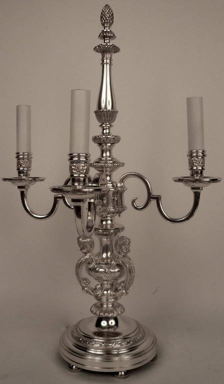 American Pair of E. F. Caldwell Silvered Bronze Candelabra Form Lamps  For Sale