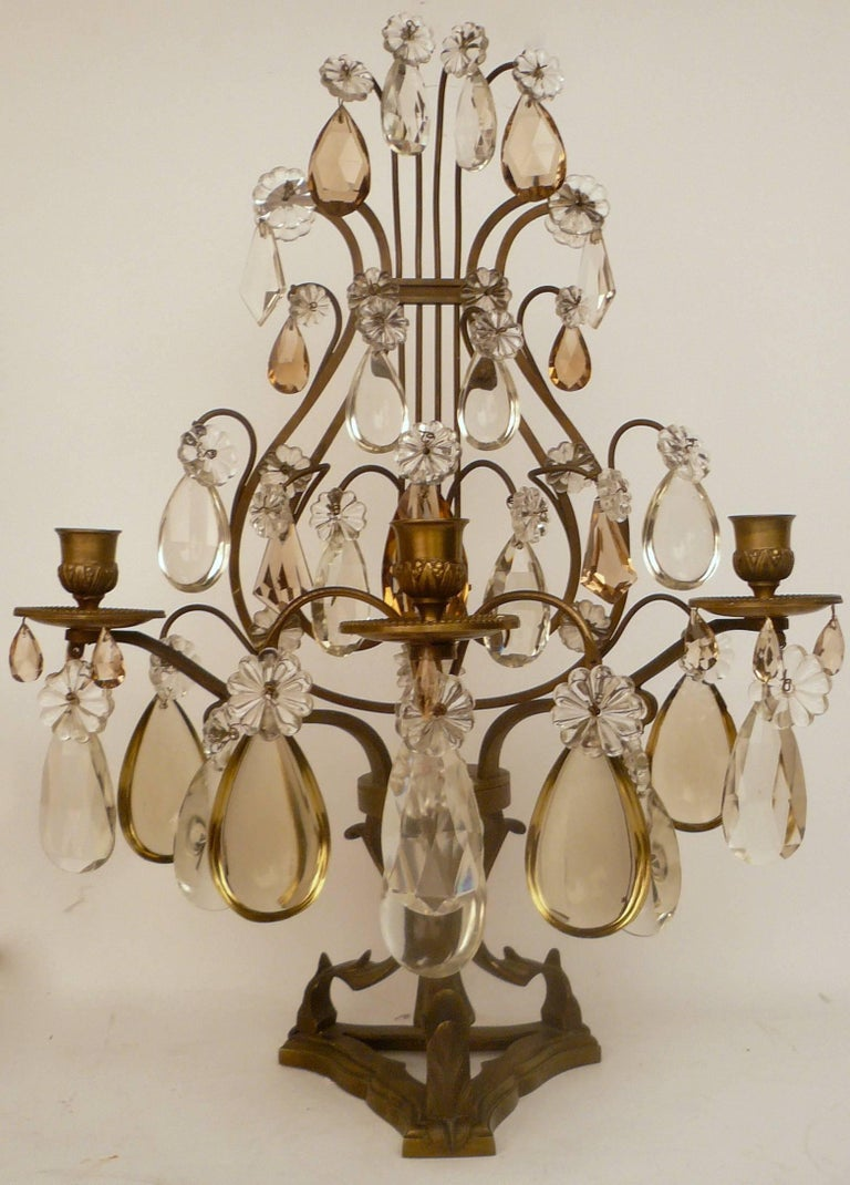 Pair of Louis XVI Style Bronze and Crystal Girandoles For Sale 3