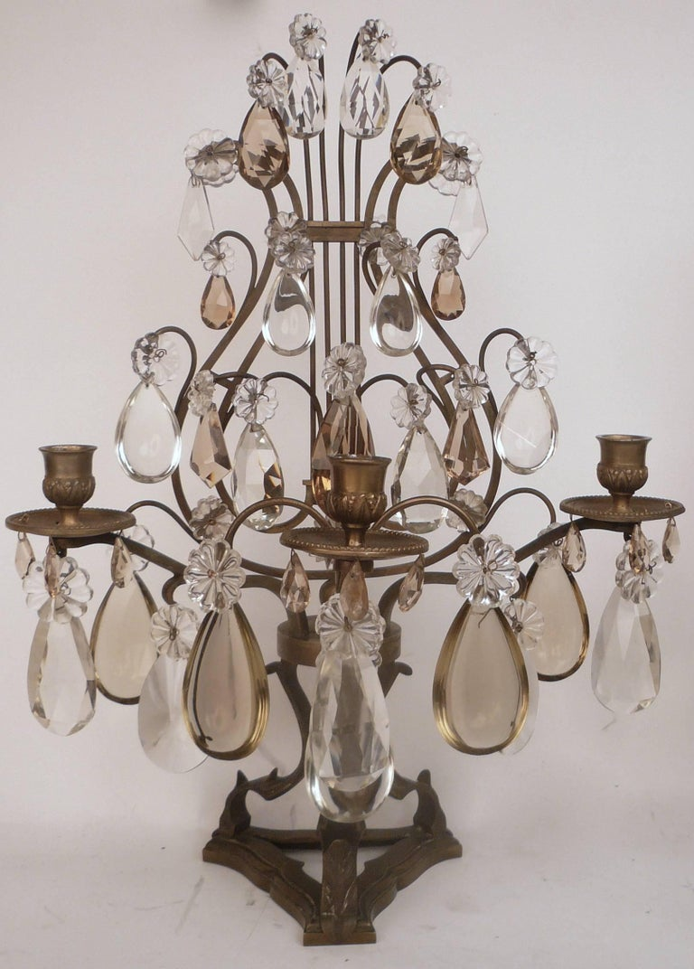 Pair of Louis XVI Style Bronze and Crystal Girandoles For Sale 2