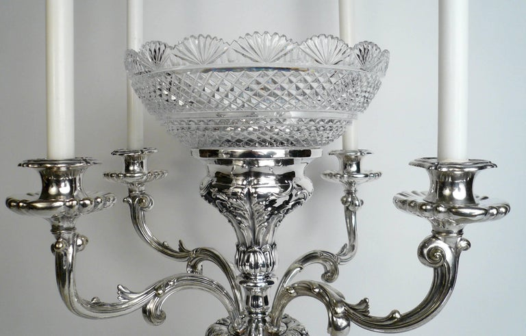 Faceted English Sheffield Plate Silver and Cut Crystal Epergne For Sale