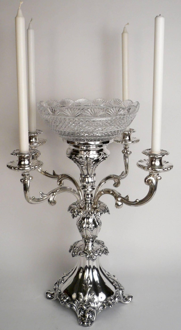 Early Victorian English Sheffield Plate Silver and Cut Crystal Epergne For Sale