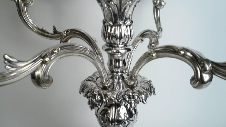 Silver Plate English Sheffield Plate Silver and Cut Crystal Epergne For Sale