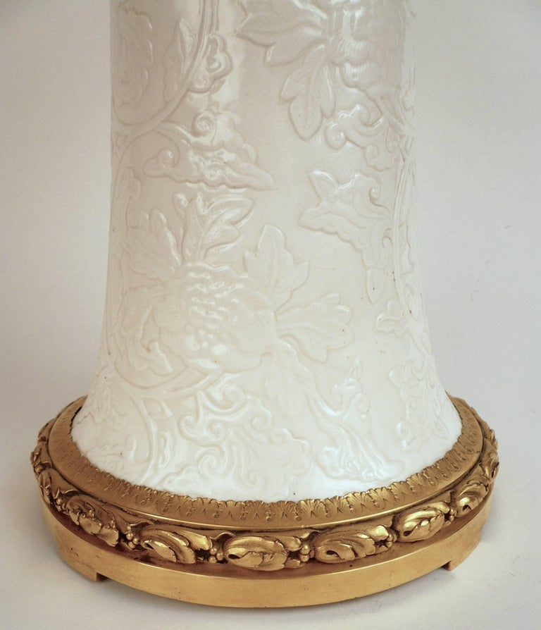 American Gilt Bronze and Blanc de Chine Porcelain Table Lamp by E. F. Caldwell For Sale