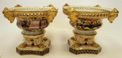 Pair 19th Century English Imari Palette Derby Porcelain Pastille Burners