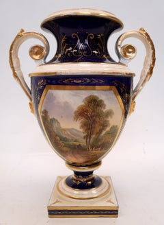"""View of Wales"" 19th Century Hand Painted Bloor Derby Porcelain Urn Form Vase"