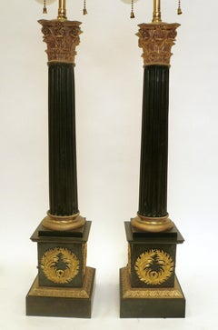 Pair Charles X Neoclassical Style Patinated and Gilt Bronze Columnar Form Lamps