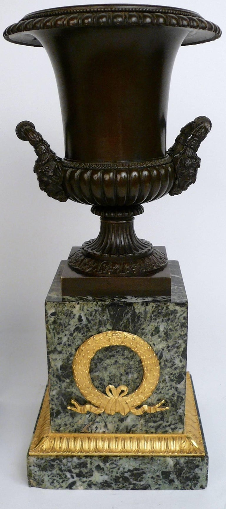 Pair of French Empire Bronze and Marble Urns In Excellent Condition For Sale In Pittsburgh, PA