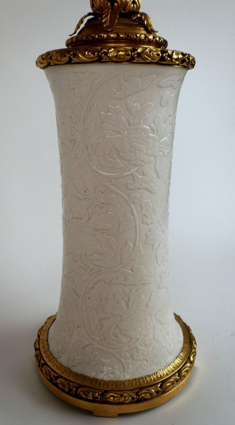 Gilt Bronze and Blanc de Chine Porcelain Table Lamp by E. F. Caldwell For Sale 1