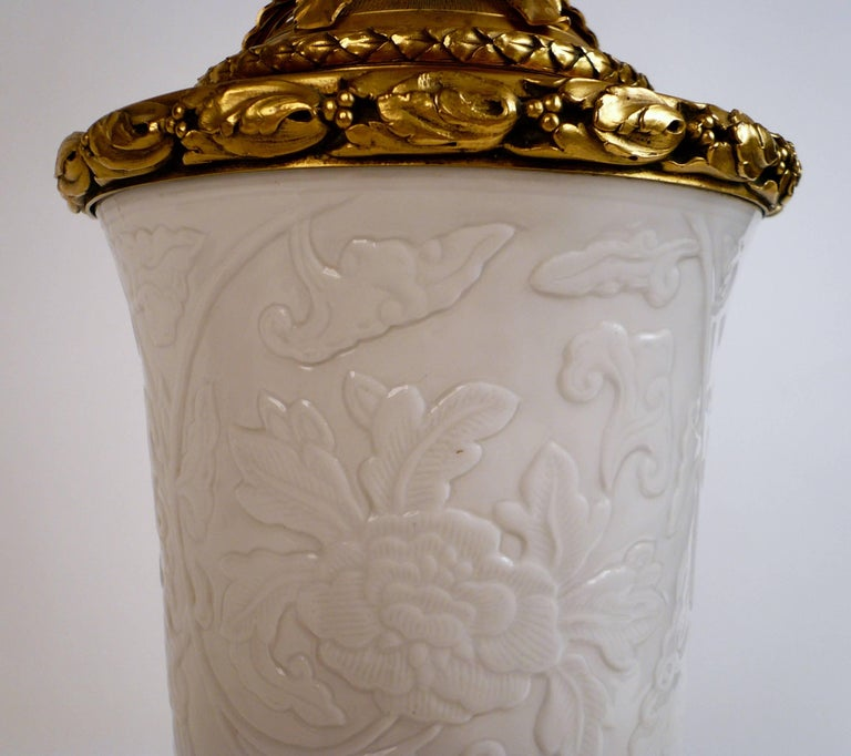 Gilt Bronze and Blanc de Chine Porcelain Table Lamp by E. F. Caldwell For Sale 2