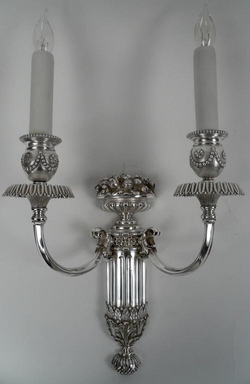 Four E. F. Caldwell Silver Plated Bronze Sconces In Excellent Condition For Sale In Pittsburgh, PA