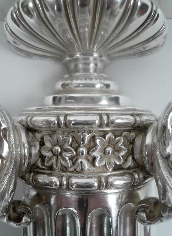 Silvered Four E. F. Caldwell Silver Plated Bronze Sconces For Sale