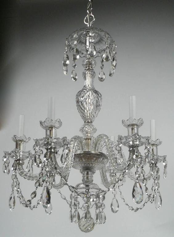 Georgian Chandelier: Georgian Style Cut Crystal Six Light Chandelier, By E. F