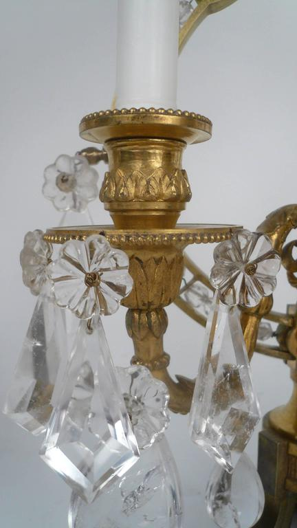Pair of 19th Century, Louis XVI Style Gilt Bronze and Rock Crystal Candelabra For Sale 4
