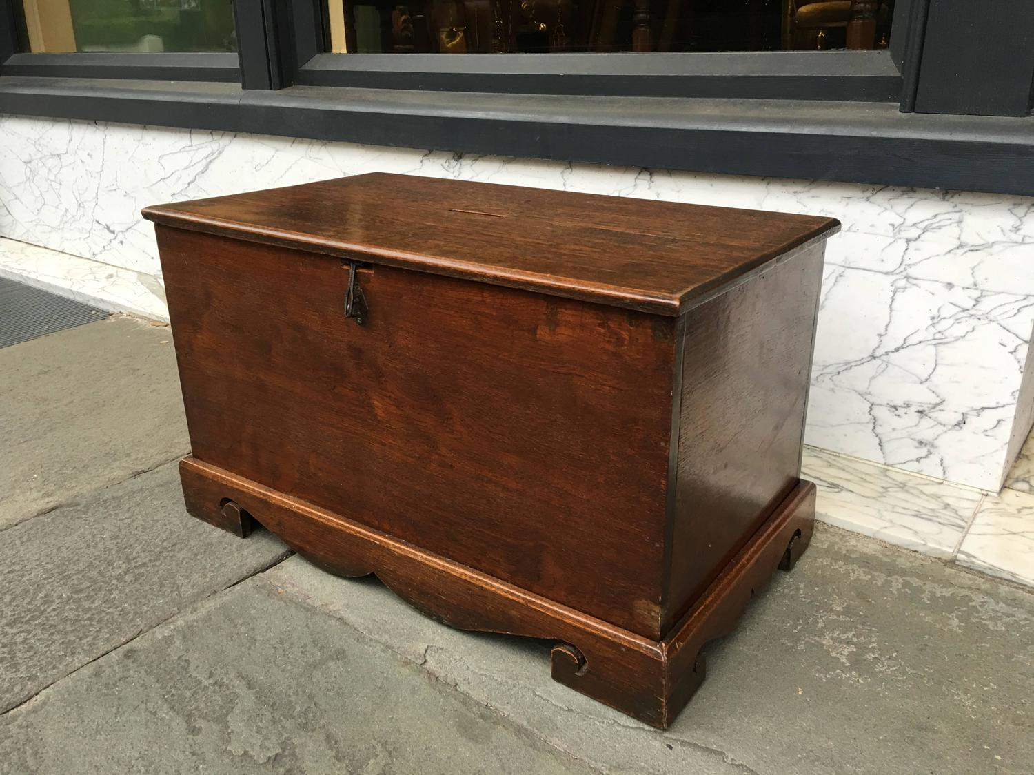 small teak box with lockable top and money slot for sale at 1stdibs. Black Bedroom Furniture Sets. Home Design Ideas