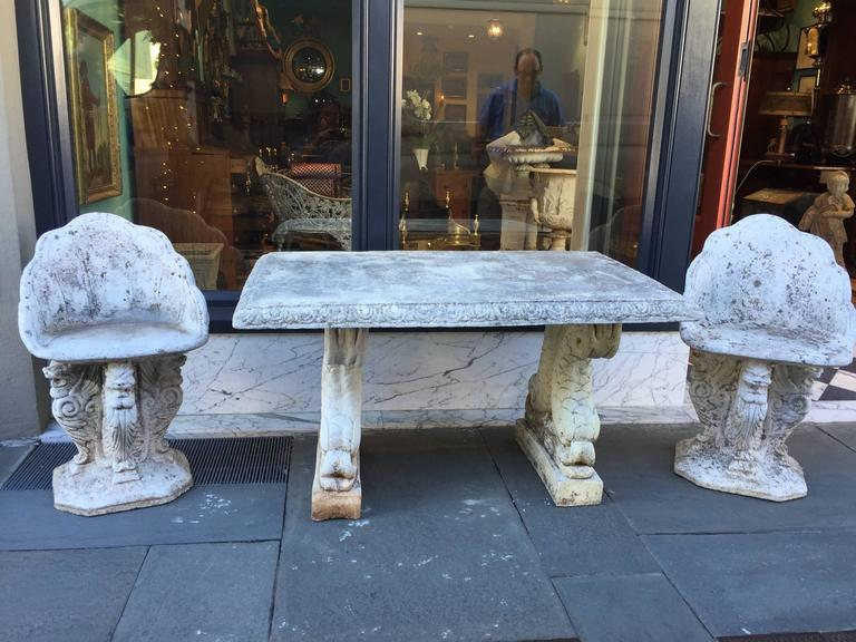 19th Century Cast Stone Italian Garden Table with Dolphin Bases 6