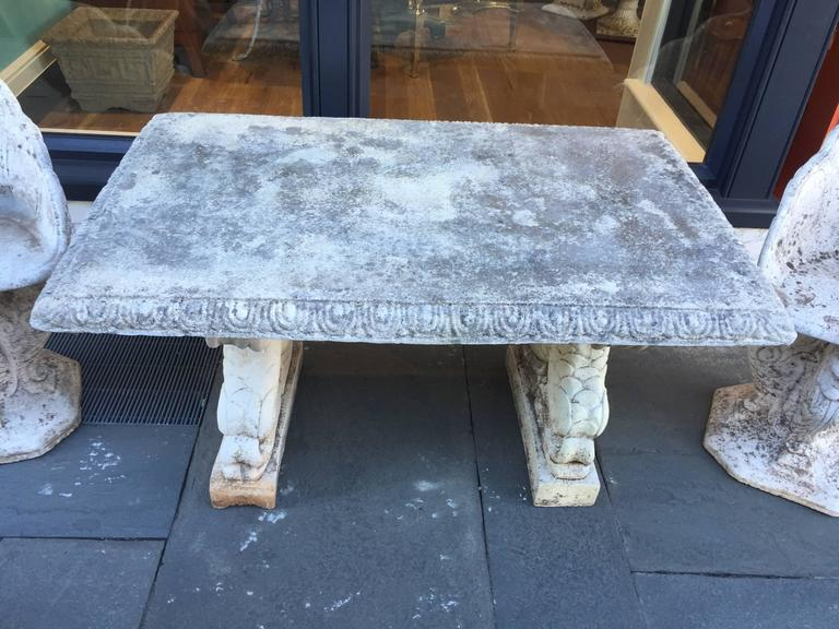 19th Century Cast Stone Italian Garden Table with Dolphin Bases 2