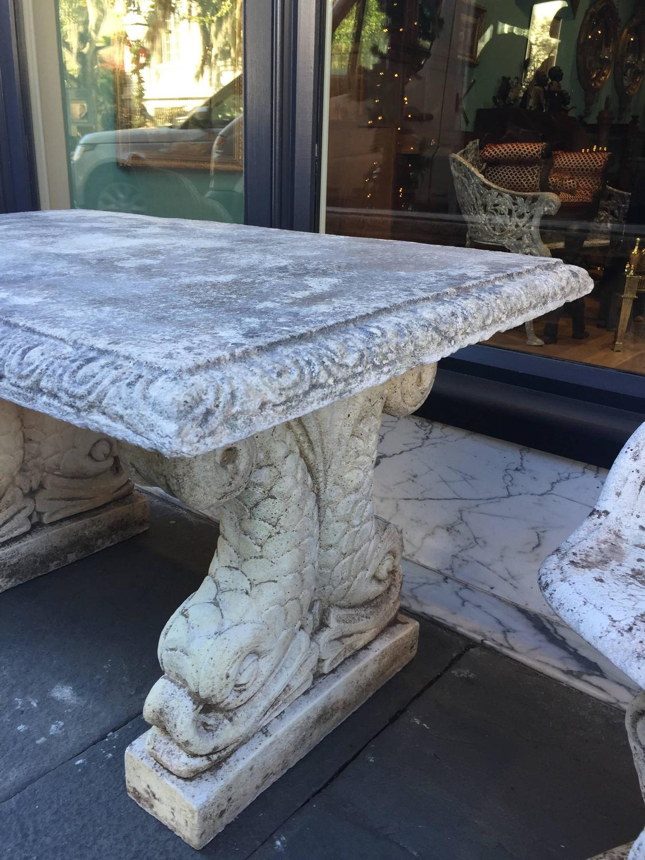 19th Century Cast Stone Italian Garden Table With Dolphin