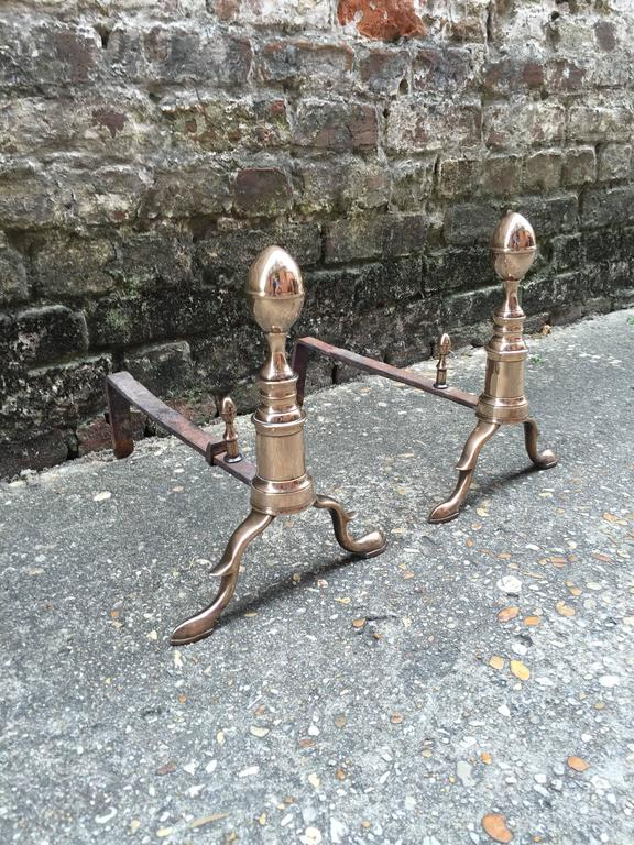 Pair of Early 19th Century Lemon Top Andirons In Excellent Condition For Sale In Charleston, SC