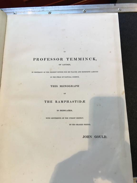 Gould Monograph of the Ramphastide 1st edition book in Modern Display Case In Good Condition For Sale In Charleston, SC