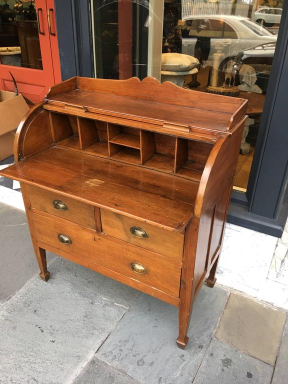 teak rolltop desk with three drawers and slide out writing surface 3 - Rolltop Desk