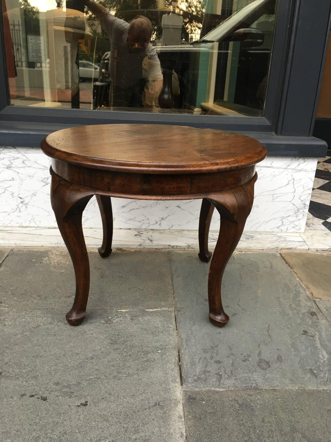 Small Oak Cocktail Table With Queen Anne Style Leg And Foot For Sale At 1stdibs